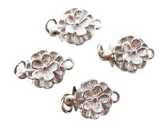2 Flower Clasps, Single Strand Clasps, Flower Box Clasp, Brass Clasp, Silver Plated Clasp,14mm x 9mm x 5mm, SKU 3740