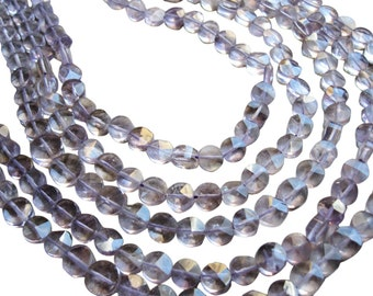 Amethyst Beads, Faceted Coin, Amethyst Faceted Coin, SKU 1125