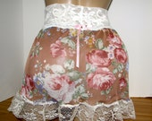 Pretty Vintage Style Sheer Pretty Vintage Style Pastel Floral Sheer Slip / Skirt  4 your Sissy Panties Sizes XS S M L XL