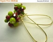Red green glass earrings ... glass clusters ... Christmas holly