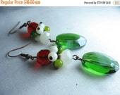 Christmas earrings with glass clusters and green crystal cut glass... colors of the season