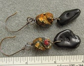 Bead and Obsidian Earrings to go with Black Chain Bracelet (sold separately)