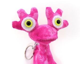 Adopt an Alien Keychain, Cute Keychain, Keychain for Girls, Alien Keychain, Monster Keychain, Toy Keychain, Pink Keychain named Aria