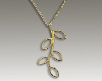 Gold pendant, 14K yellow gold necklace, gold leaf necklace, long leaf necklace, botanial necklace, long pendant necklace - 5 Seasons NG4673C