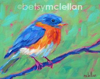 Bluebird - Eastern Bluebird - Paper - Canvas - Wood Block - Giclee Print