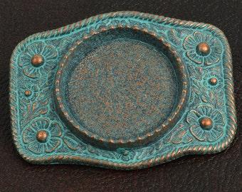 Silver Dollar Bezel Belt Buckle Base, 1 each BU117