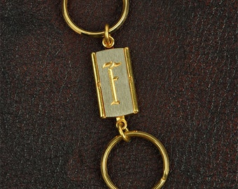 Initial Key Chain, Monogram, Gold plated, 28mm x 15mm, sold by Each
