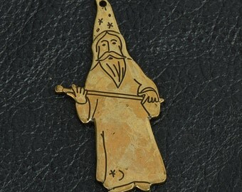 Stamped Wizard Charm, Antique Gold, Pk/2 15288BR