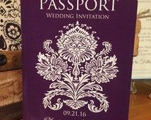 Bali Wedding Invitation, Passport Wedding Invitation.