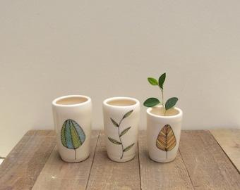 Leaf vase, set of three leaf vase, small ceramic vase, woodland home decor, fall leaf design.