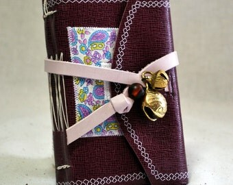 Small Pink Leather Journal with Bells