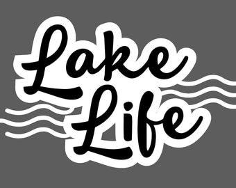 "Lake Life waves vinyl decal (3.5"" tall)"