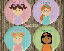 Little Girl Plate and Bowl Set - Personalized Melamine Children Plate and Cereal Bowl - Kids Dishes for Mealtime - Choose hair skin color