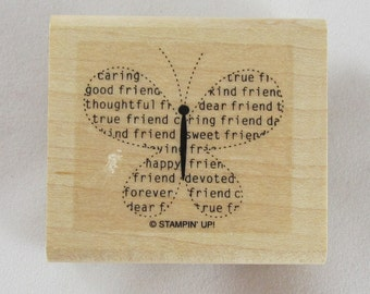 Friendship Butterfly Rubber Stampede Rubber Stamp #RS206