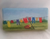 Clothesline Art,  Clothesline Painting, Hand Painted Brick Paver,  Household Chore,  Colorful Laundry Painting,  Painted Doorstop,