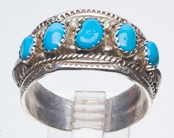 Navajo Turquoise Row Sterling Ring - Signed - Large Size - sz 13 3/4