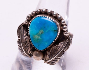 70s Turquoise Ring - Navajo Sterling - Natural Turquoise - sz 9