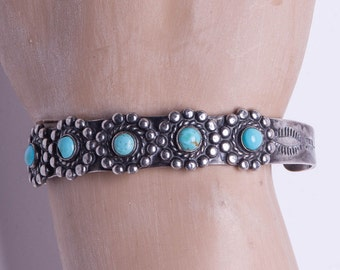 Navajo Harvey Era Turquoise Bracelet - Turquoise Row Stamped Sterling Cuff- Satellite