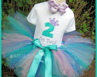 2yrs, Ready to Ship, Princess Crown with Number 2, Teal and Lilac,  Party Outfit,Tutu Set, Theme Party, Birthday Girl