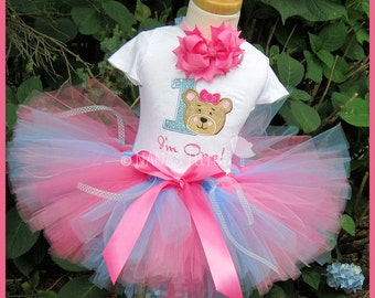3pc Custom -  Birthday,Teddy Bear with Number One, Theme Party, Party,Photo Shoots, Teddy Bear Birthday,Party Outfit