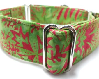 Green and Red Batik Greyhound, Whippet, Galgo, Pit Bull, Dog, Sighthound, Martingale Collar