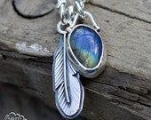 Labradorite and sterling silver feather boho style charm necklace - Forever Free -
