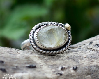 Sterling silver and Golden Rutilated quartz with 14k gold accent   - In Golden Light -