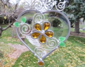 Beveled Heart Stained Glass Suncatcher Home Decor