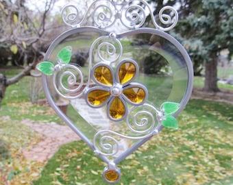 Heart Suncatcher Stained Glass Sun Catchers Beveled Heart Window Hanging Home Decor