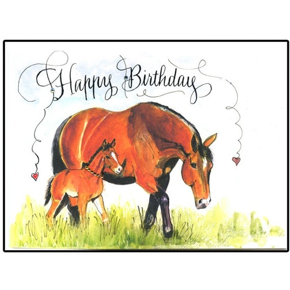Birthday Horse Card Mare And Foal Card Handmade Horse Card