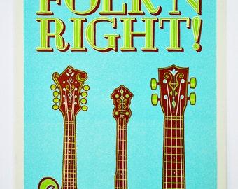 Folk'n Right! : Limited Edition Letterpress Linocut Print