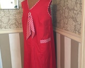 Vintage 60s Red Gingham Check Duster Dress Lounger