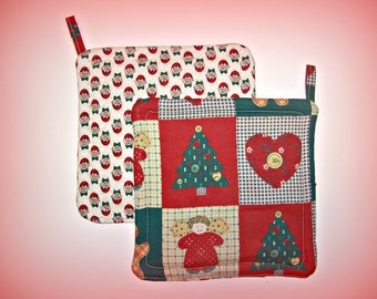 Christmas Pot Holders, Set of 2, Trivet, Hot Pad, Red & Green Potholder, Insulated, Hostess Gift, Holiday Gift, Made in America