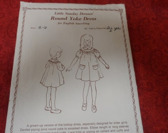 Little Sunday Dresses Round Yoke Dress Pattern for English Smocking Size 5-6