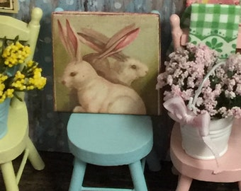 """Miniature Rustic Trio of Spring Rabbits Canvas Sign Picture 2"""" x 2"""""""