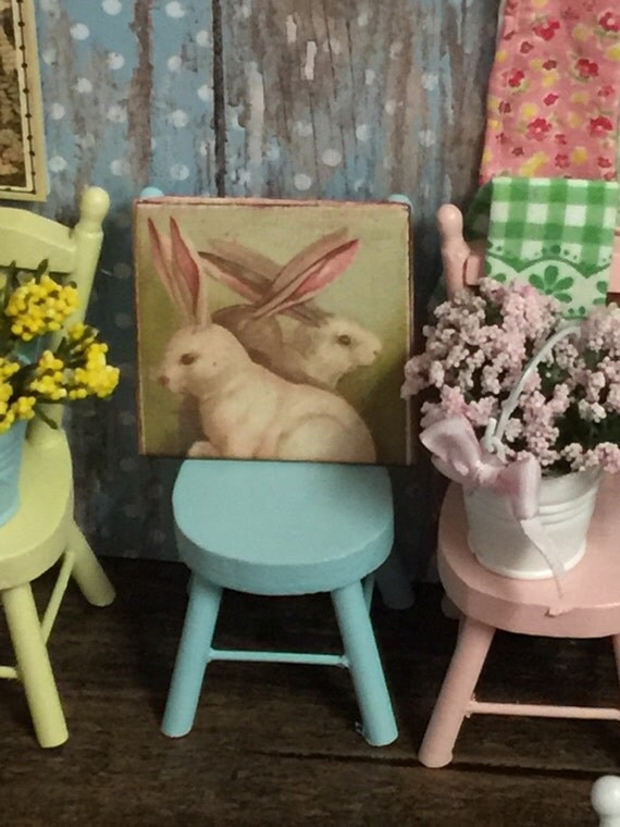 "Miniature Rustic Trio of Spring Rabbits Canvas Sign Picture 2"" x 2"""