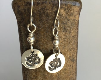 Ohm Earrings Sterling Silver, Hand Forged Metal Jewelry, Yoga Teacher Gift, Inspirational, Peace, Namaste, Om Symbol, Organic