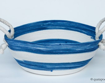 Large Indigo, Dyed, blue and white striped coil basket, rope basket, fruit bowl, natural, scandinavian, Nautical, Beach decor, cottage home