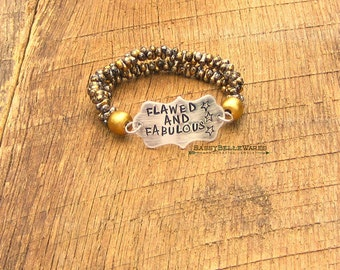Flawed and Fabulous Bracelet saying phrase mantra motto quote inspirational self confidence black silver gold be you love accept yourself