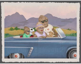 Bigfoot Family Sunday Drive Print