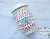 Coffee Cozy Crochet Striped Cinderella Blue Carriage, Pink gold Coffee cozies sleeve, stocking stuffer, gift ceramic plastic cups