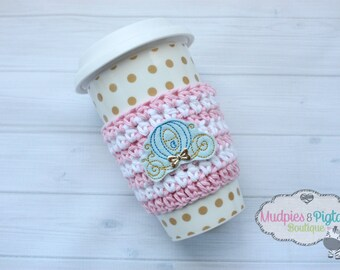 Coffee Cozy Crochet Striped { Cinderella } Blue Carriage, Pink gold Coffee cozies sleeve, stocking stuffer, gift ceramic plastic cups