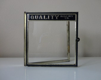 VINTAGE 'quality biscuit co.' display WINDOW DOOR