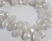 Rare White Sapphire Gemstone Pear Briolette, Diamond Finish.  Precious Gemstone Briolettes. 9-10mm. Packet of 2. (fsapw)