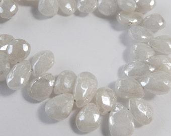 Sapphire Gemstone. Precious Gemstone Bead. White Sapphire Pear Briolette, Diamond Finish. 9-10mm. Packet of 2  (fsapw)
