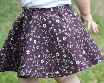 Toddler Circle Skirt Reversible Girls Plum Purple Pastel Flowers and Stripes for Twirling and Dancing Birthday Outfit