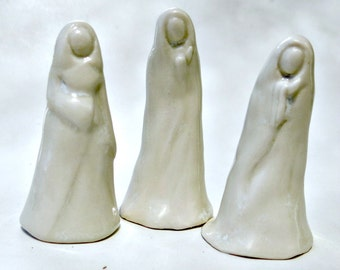 White Porcelain Abstract Lady Collectible Handmade Ceramic Art Sculpture Miniature Figurine