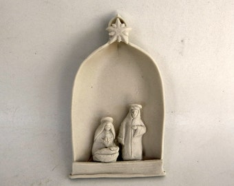 Miniature Nativity Ornament Holy Family Madonna and Child With Joseph Matte White Ceramic Sculpture Folk Art