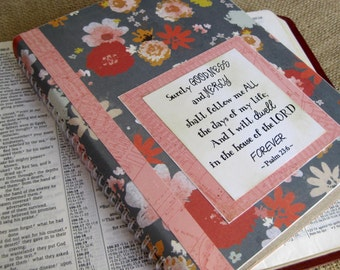 Legacy Prayer Journal, Bound Book, Bright Multicolored Floral on Grey-Blue Background with Pink Maps Accents
