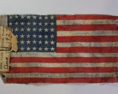 Antique AMERICAN FLAG- 1927- Small Fabric Scrapbooking- Vintage Americana -48 Stars- Red White & Blue- Mini Vintage Flag